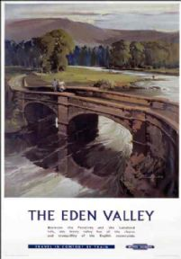 The Eden Valley, Cumbria.  Vintage BR Travel Poster by Claude Buckle
